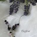 Gaby (nyaklánc), Ékszer, Nyaklánc, Ezüst színű nyaklánc csodás muranói gyöngyökkel  melyben lilás rózsaszál,  2-2  gyöngy k..., Meska