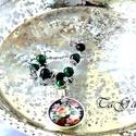 Rozina   (nyaklánc), Ékszer, Nyaklánc, Ezüst színű nyaklánc üveglencsés medállal, mely fekete alapon színes rózsacsokrot ábrázol..., Meska