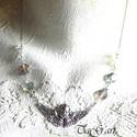 Őrangyal, Ékszer, Nyaklánc, Ezüst színű különleges angyalos medál, néhány swarovski gyöngy ami kék vagy inkább lila? ..., Meska