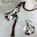 Primavera ékszerszett, Vörösréz színű nyaklánc és fülbevaló mely...