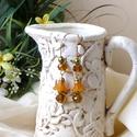Nárcisz (fülbevaló), Ékszer, Fülbevaló, Arany színű  fülbevaló. Swarovski mézkristály, lucite kehely,   zöld gyöngyök, és arany alap felhasz..., Meska