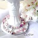 Habcsók  karperec, Ékszer, Esküvő, Karkötő, Rózsaszín kavalkád, rózsakvarc, porcelán, muránói üveg, swarovski, lámpagyöny némi ezüst..., Meska