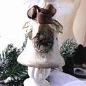 Vintage harang (dísz), Dekoráció, Karácsonyi, adventi apróságok, Dísz, Ünnepi dekoráció, 10 cm -es vintage harang,  kristályokkal, gyöngyökkel, varázslatos képekkel. 3 különböző sz..., Meska