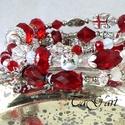 Rebeka... karperec, Ékszer, Karkötő, Piros és piros ... fémgyöngyök, ezüst és zománcos elemek,  zwarovski kristályok, jade kockák és gömb..., Meska