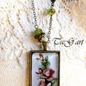 Fény nyaklánc, Ékszer, Nyaklánc, Art deco hangulatú bronz színű nyaklánc üveglencsés medállal, melyet csodás rózsák díszí..., Meska