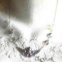 Őrangyal... (nyaklánc), Ékszer, Nyaklánc, Ezüst színű különleges angyalos medál, néhány swarovski gyöngy ami kék vagy inkább lila? ..., Meska
