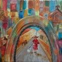 Séta c olajfestmény, Képzőművészet, Dekoráció, Festmény, Olajfestmény, Festészet, Tisztelt Vásárló!  A Séta c. olajfestmény vidám, könnyed hangulatot, eleganciát sugároz. Óvárosi kö..., Meska