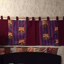 Barselona falvédő, Férfiaknak, Focirajongóknak, Varrás, Vattelinel bélelt falvédő 195×65 cm +9 cm füllek , Meska