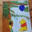 Micimackó , Baba-mama-gyerek, Dekoráció, Gyerekszoba, Kép, Festészet, Olajfestékkel készült palettakés technikával.   Micimackó illusztráció.  Önállóan készítettem így m..., Meska
