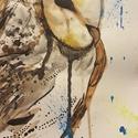 Bagoly, Képzőművészet, Festmény, Akvarell, Festészet, A4 akvarell technikával és akvarell lapra készült festmény. Önállóan festettem, bármilyen mértében ..., Meska