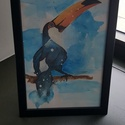 Tukán akvarell, Képzőművészet, Festmény, Akvarell, Festészet, A4 akvarell technikával és akvarell lapra készült festmény. Önállóan festettem, bármilyen mértében ..., Meska