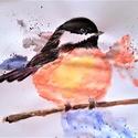 Madárka, Képzőművészet, Festmény, Akvarell, A4-es lapon készült vízfestékkel.   A képen egy madárka látható.  , Meska