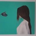 Bird, Képzőművészet, Festmény, Olajfestmény, Festészet, Olajfestékkel készült 80X60-as vászonra.  A képen látható egy hölgy és egy fecske.  A háttér türkiz..., Meska