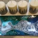 Adventi asztaldísz ajándék gyertyákkal (türkiz), Karácsonyi, adventi apróságok, Karácsonyi dekoráció, Kézzel festett üvegtányér, melyhez, most kézműves gyertyák járnak ajándékba. Türkiz, kék, zöd, ezüst..., Meska