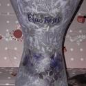 Blue roses váza , Dekoráció, Otthon, lakberendezés, Asztaldísz, Kaspó, virágtartó, váza, korsó, cserép, Rizspapír technikával díszített  üvegváza ! Az üveg vázát vásároltam és díszítettem! B..., Meska
