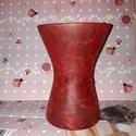 Piros váza, Dekoráció, Otthon, lakberendezés, Esküvő, Kaspó, virágtartó, váza, korsó, cserép, Rizspapírral díszíttet üveg váza! A vázát vásároltam és utána díszítettem! Befejező la..., Meska