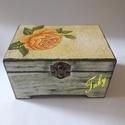 Rózsás doboz, Dekoráció, Otthon, lakberendezés, Rózsás doboz Dekupázs technikával készítve Alapozás után szalvéta technikát alkalmaztam  m..., Meska