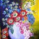 Virágcsendélet- festmény-, Képzőművészet, Festmény, Akril, Festészet, Akrillal készült virágcsendélet, faroston. Kérésre pontos méretet teszek fel., Meska