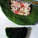 Angolkert- rózsás romantikus kord táska  Azonnal vihető!, Táska, Válltáska, oldaltáska, Nagyon szép  romantikus rózsás textillel díszített kordbársony táska. Gyönyörű olivazöld kordból kés..., Meska