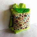 Karib tenger kalózai hátizsák, kisfiú, kislány táska, ovistáska, hátizsák Készleten!, Táska, Hátizsák, Zöld textilből , Karib-tenger kalózai- mintás patchwork textilből  készült hátizsák.  Záródása: tépő..., Meska