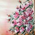 Rózsa , pink rózsás kép, falikép, dekoráció, Képzőművészet, Festmény, Napi festmény, kép, Akrillal festett virágos falikép, Meska