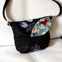 Filippa sötétkék hímzett női farmer táska, válltáska, Táska, Válltáska, oldaltáska, Női himzett táska. Kérésre méretet teszek fel, Meska