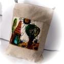 Festett, vászon táska, tarisznya, , Táska, Tarisznya, Válltáska, oldaltáska, Az előlapon festett panel található, amely kézzel festett , és quilt-ezett egyben. A táska: A/4 mére..., Meska