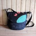 Adéle sötétkék hímzett női farmer táska, válltáska, Táska, Válltáska, oldaltáska, Női himzett táska. Kérésre méretet teszek fel, Meska