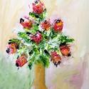 Rózsák olajfestmény, Képzőművészet, Festmény, Olajfestmény, 30x40-es olajfestmény festőkéssel készült, Meska