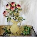 Rózsák csendélet olajfestmény, Képzőművészet, Festmény, Olajfestmény, 30x30-as olajfestmény festőkéssel és ecsettel készült, Meska