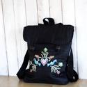 Hímzett virágos hátizsák, Táska, Hátizsák, Hímzett hátizsák.   Kérésre pontos méretet teszek fel., Meska