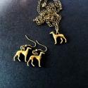 Kutyás fülbevaló, agár, kutyus, állatos ékszer, kutya  ékszerszett nyaklánccal, Esküvő, Ékszer, óra, Fülbevaló, Ékszerkészítés, Agaras fülbevaló és nyaklánc szett. Antik-bronz színben., Meska