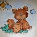 Maci  napocskával, Baba-mama-gyerek, Konyhafelszerelés, Bögre, csésze, 2 részből álló bézs alapszínű kerámia gyermek étkészlet,saját kézzel festve ,majd kerám..., Meska