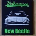 New Beetle, Képzőművészet, Festmény, Akril, Festészet, Festmény,  fára készült kril festékkel. 45x50 cm ., Meska