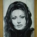 Sophia Loren, Képzőművészet, Festmény, Akril, Festészet, Egyedi akril festmény fára. Vállalom portré készítését, beküldött kép alapján. Legszebb ajándék szü..., Meska