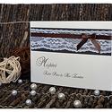Csipkés esküvői meghívó, Esküvő, Meghívó, ültetőkártya, köszönőajándék, Csipkés esküvői meghívókat készítettem fehérarany papírból, csipkével és szatén szalaggal díszítve. ..., Meska