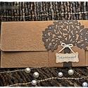 """""""Szerelemfa"""" Pénzátadó lap, Esküvő, Meghívó, ültetőkártya, köszönőajándék, Nászajándék, Papírművészet, Barna színű pénzátadó lapot készítettem, kraft kartonból, dombornyomott mintával, fa motívummal, ma..., Meska"""