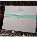 """""""Szolid menta"""" esküvői meghívó, Esküvő, Naptár, képeslap, album, Meghívó, ültetőkártya, köszönőajándék, Nászajándék, Papírművészet,  Dombornyomott esküvői meghívót készítettem hófehér, bordázott kreatív kartonból, szatén szalaggal ..., Meska"""