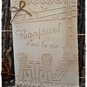 Vintage Párizs, Naptár, képeslap, album, Karácsonyi, adventi apróságok, Ajándékkísérő, képeslap, Képeslap, levélpapír, Párizs kedvelőknek, vagy bárkinek, akinek csak megtetszik! :-)  Mérete: 14,5 cm * 10,5 cm, Meska