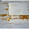 Fehérarany-Arany esküvői meghívó, Esküvő, Naptár, képeslap, album, Meghívó, ültetőkártya, köszönőajándék, Papírművészet, Betétlapos esküvői meghívót készítettem fehérarany színű papírból. A meghívót domborítottam, masniv..., Meska