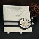 Virágos esküvői meghívó, Esküvő, Otthon & lakás, Meghívó, ültetőkártya, köszönőajándék, Naptár, képeslap, album, Papírművészet, Betétlapos esküvői meghívót készítettem fehérarany színű papírból. A meghívót domborítottam, 3D-s v..., Meska