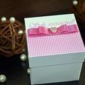 Idézetes, pink ajándékdoboz, Esküvő, Naptár, képeslap, album, Meghívó, ültetőkártya, köszönőajándék, Képeslap, levélpapír, Papírművészet, Esküvőre vagy bármilyen más alkalomra készülők figyelmébe ajánlom a következő saját készítésű idéze..., Meska