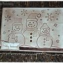 """""""Antik hóemberek"""" Karácsonyi képeslap, Dekoráció, Karácsonyi, adventi apróságok, Naptár, képeslap, album, Ünnepi dekoráció, Karácsonyi dekoráció, Ajándékkísérő, képeslap, Szolidan elegáns képeslapot készítettem,hóemberes dombornyomott mintával, antikolva., Meska"""