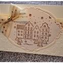 """""""Téli falu, arany csillogásban"""" Karácsonyi képeslap, Karácsonyi, adventi apróságok, Naptár, képeslap, album, Ajándékkísérő, képeslap, Karácsonyi dekoráció, """"Téli falu"""" Karácsonyi képeslap  , Meska"""