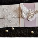 """""""Orgona pillangó"""" Pénzátadó lap/Esküvői meghívó/Keresztelő/Születésnap/Névnap, Naptár, képeslap, album, Esküvő, Meghívó, ültetőkártya, köszönőajándék, Nászajándék, Papírművészet, """"Orgona pillangó"""" Pénzátadó lap/Esküvői meghívó/Keresztelő/Születésnap/Névnap, Meska"""
