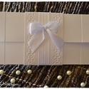 Hófehér masni és csipke pénzátadó lap/ Esküvői meghívó, Esküvő, Naptár, képeslap, album, Meghívó, ültetőkártya, köszönőajándék, Nászajándék, Hófehér masni és csipke pénzátadó lap/ Esküvői meghívó, Meska