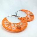 Horgolt karika narancs színű fülbevaló, Ékszer, óra, Fülbevaló, A fülbevaló 6cm átmérőjű. Antiallergén fém alapra, 100% pamut fonallal horgoltam, s 3db üveggyönggye..., Meska