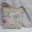 Rózsás táska, Táska, Válltáska, oldaltáska, Varrás, Ez a táska kiváló minőségű textilbőrből és vastag dekor vászonból készült. Pamutvászon bélésében eg..., Meska