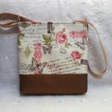 Vintage rózsás táska, Táska, Válltáska, oldaltáska, Varrás, Ez a táska kiváló minőségű textilbőrből és vastag dekor vászonból készült. Cipzárral záródik. Pamut..., Meska