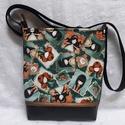 Gorjuss nagy válltáska, Táska, Válltáska, oldaltáska, Varrás, Textilbőrből és kiváló minőségű vászonból készült ez a táska, melyet egy bronz színű textilbőr csík..., Meska